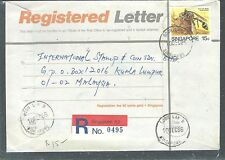 MALAYA SINGAPORE (PP2508B) 1986 RLE UPRATED 15C SENT  FROM BOON LAY B