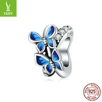 Fashion Women Authentic 925 Sterling Silver Flying Butterflie Charm Fit Bracelet