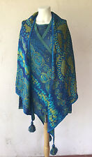 CHACOK womens 3 pc knit top cardigan and shawl blues greens size 2 (med)