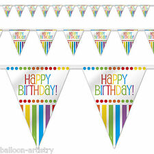 12ft Rainbow Party Happy Birthday Bunting Flags