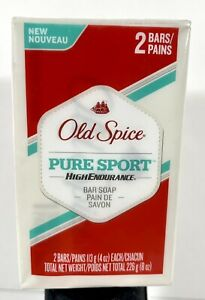 2 Pack Old Spice - Pure Sport - High Endurance - Bar Soap 4 oz - New Sealed