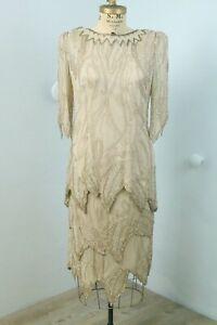 Vintage 80s beaded & sequin Silk Gold Art Deco 2-pc Flapper Dress Top & Skirt  L