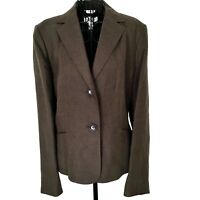 Talbots 100% Irish Linen Jacket Blazer Fully Lined Brown Long Sleeve Size 10