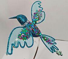Clip on Christmas Ornament Turquoise Blue sequin & glitter Hummingbird Bird