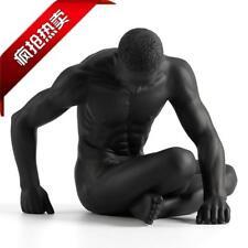 "7"" Modern Art Sculpture handmade black resin Nude Sitting man body statue"