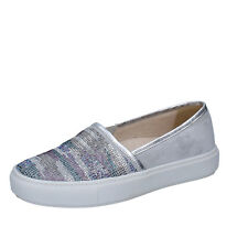 scarpe donna JANET SPORT 38 EU slip on grigio argento camoscio strass BT420-38