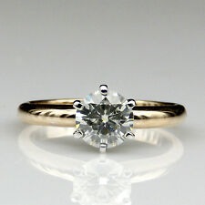 6 Prong 1.0CT Moissanite 10K Two Tone Gold Solitaire Wedding Engagement Ring
