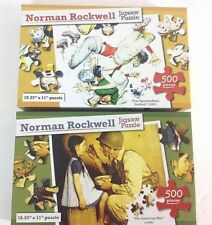 2 -500 PIECE NORMAN ROCKWELL JIGSAW PUZZLES- American Way & 4 Sporting Boys