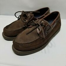 F6, Sperry Top-Sider Mens 8M Brown Leather Boat Shoes 0777503, 2 Eyelets