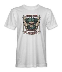 Speed Shop Motorcycle Garage Skull Mens/Unisex T-Shirt