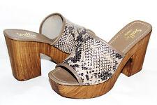 "❤️SHELLYS London Taupe Snakeskin 3.5"" Wooden Heel Platform 8.5 M Italy NEW!L@@K!"