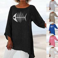 Women Plus Size Long Sleeve Linen Baggy Blouse Shirt Ladies Summer Tunic Tops UK