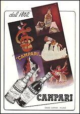 PUBBLICITA' 1952 BITTER CORDIAL CAMPARI 100 ANNI MANIFESTI CAPIELLO NIZZOLI BAR