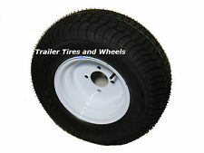 *2* 205/65-10 LRE Loadstar Bias Trailer Tires on 4 Lug White Wheels 20.5x8.0-10