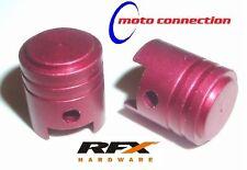 Honda CR80 CR85 125 CR250 CR500 Motocross NEUMÁTICO VÁLVULA POLVO GORRAS RFX Aleación Rojo