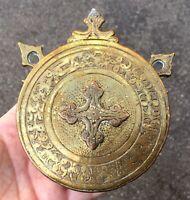 Antique Brass Round Gunpowder Flask Cooper Cross North Africa Morocco Berber