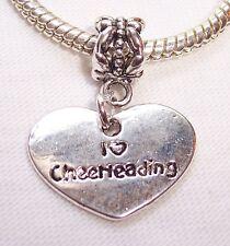 I Heart Cheerleading Love Cheerleader Gift Dangle Charm for European Bracelets