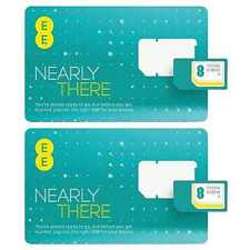 2 x EE Pay As You Go PAYG SIM Card Micro Nano Adapter for iPhone iPad Samsung