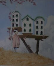 JAPANESE GIRL BY THE DOVECOTE  OIL ON CANVAS BY J.M.WALLACE