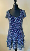 Crew Clothing Co. Navy Blue Floral Tiered Skirt Short Sleeved Dress Size 10