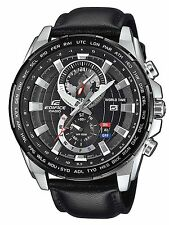 Casio Edifice EFR-550L-1A Dual Dial World Time Black Dial Black Leather Watch