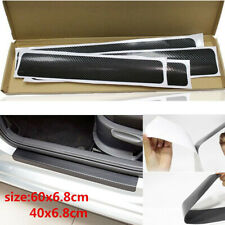 Car Interior Accessories Door Sill Scuff Cover Carbon Fiber Vinyl Wrap Sticker