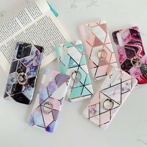 Plating Marble Finger Holder Soft Case Cover For Huawei Mate 30 Lite P20 P30 Pro