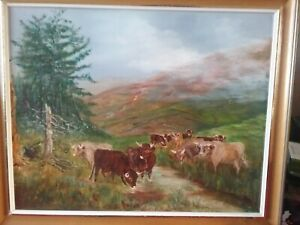 Oil Painting Of highland cattle