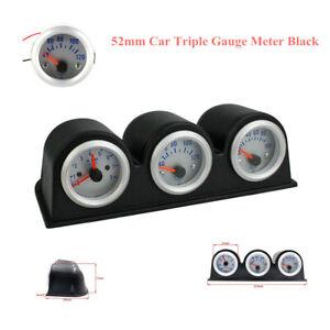 Black Car Triple Gauge Kits 3in1 Tachometer Water Temp Oil Pressure Gauge Meter