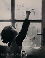 1935 Vintage 16x20 CUTE CHILD WINDOW WRITING Czechoslovakia Photo MARIE GOTTLIEB