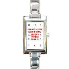 Personalized Custom Your Logo Design Photo Text Rectangular Italian Charm Watch