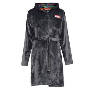 OFFICIAL DC MARVEL Mens Hooded Bath Robe Fleece Dressing Gown Hulk S - XXL