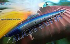 "NEW LONG JERK ""ALICE'S BAIT"" MINNOW 175 SLIM FLOATING - COLOR: SARDINE BLUE HEAD"