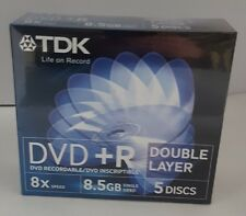 5 x TDK DVD+R Double Layer in Jewel Cases Blank Discs