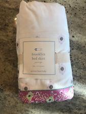 Pottery Barn Kids Brooklyn Tiered Ruffle Floral Crib Skirt Purple White NEW