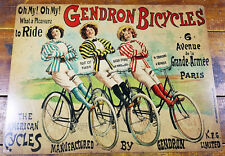GENDRON BICYCLES AMERICAN BICYCLE PARIS FRANCE HEAVY DUTY METAL ADVERTISING SIGN