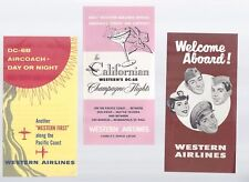 Western Airlines 50s era (from seat packet)  small leaflets lot of 3