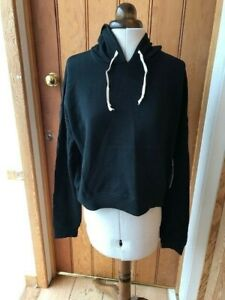 central park black cropped hooded sweat top m bnwt yoga active performance
