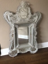 Gorgeous Italian Murano Venetian Style Etched Glass Mirror. Great Condition.