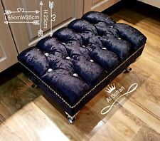 Foot Rest Pouffe Stool QueenAnne Legs British Made black Crushed Glitz Velvet