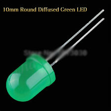 500pcs 20000MCD 2Pin 10mm Green color Green Light Round Top Diffused Light LED