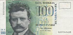 100 MARKKAA FINE BANKNOTE FROM FINLAND 1986 PICK-119