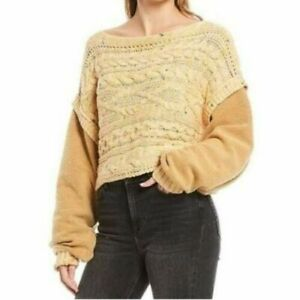 Free People Honey Cable Pullover Jumper Cropped Oversize Slouchy Size Small