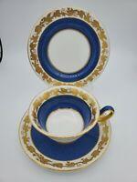 Wedgwood White Hall  POWDER Blue Peony Shape Cup & Saucer & Dessert Plate Set