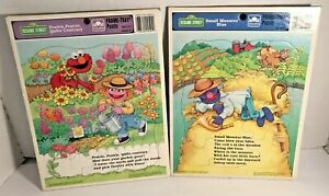 1993 Lot of 2 Sesame Street Golden Frame Tray Puzzles Cookie Monster & Elmo