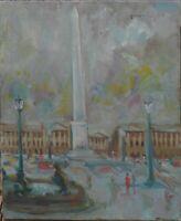 tableau huile/toile - Paris , La place de la Concorde - signée Pérales