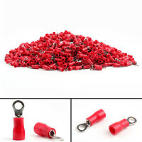 1000Pcs RV1.25-3 Crimp Terminals Insulated Ring Wire Connector 22-16AWG Red