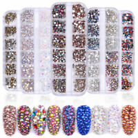 12 Grids 1440X 3D Flat Back Nail Art Rhinestones Glitter Diamond Gems Tips Decor