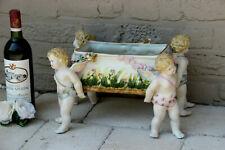 LARGE German Porcelain Jardiniere Planter Vase 4 putti angel figurines Vintage
