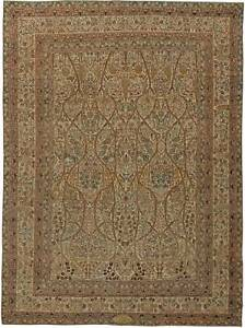 T a b r i z Beige, Gray, Blue and Black Handwoven Wool Rug BB5670